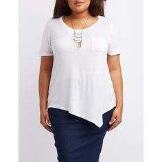 Charlotte Russe Asymmetrical Pocket Tee ($7.99) ❤ liked on Polyvore featuring plus size women's fashion, plus size clothing, plus size tops, plus size t-shirts, white, white tops, short sleeve tee, women plus size tops, pocket t shirts and pocket tees