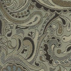 $29.75  This is a black, tan and gray paisley floral outdoor eco-friendly upholstery fabric,suitable for any dcor. Perfect for pillows, cushions and furniture.10 YARD MINIMUM PURCHASEv301PHEF Bally Castle Seagrass L64