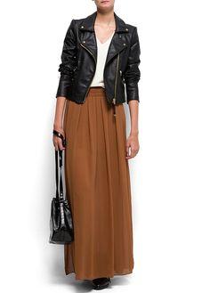 Falda larga gasa + chaqueta motera