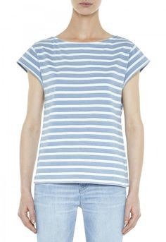 The BOAT NECK Tee - Tops - SHORT SLEEVE, BOAT NECK TEE - Stripe Indigo Jersey - MiH Jeans