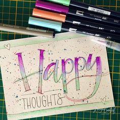 - Happy thoughts - . Eindelijk weer tijd gemaakt om een vrolijke tekst te maken #lovecolors . . Dag 13 #maart #dutchletteringchallenge…