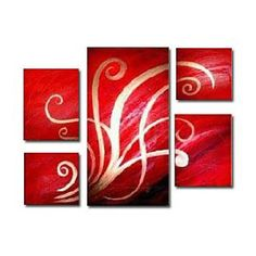 Hand-painted Abstract Oil Painting with Stretched Frame - Set of 5 - Free shipping