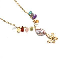 #Rainbow #Necklace Gemstone Necklace #Flower #Jewelry by #FizzCandy, $75.00
