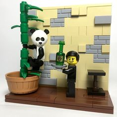 """124/365 """"Please Wait To Be Seated"""" (In French accent) """"Excuse me sir. I must ask that you PLEASE get down. We are a by reservation only restaurant You are NOT a real panda and that is NOT a real tree.""""  #lego #rubrick #legovignette #legopicaday legocmf #legowaiter #legopanda #legopandaguy #pleasewaittobeseated by rubrick"""