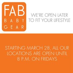 Our Bank St and Fab Baby Gear - Toronto Danforth store will be open until 8 p.m. on Fridays starting tomorrow. See you then! #FabBabyGear