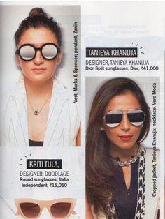 Zariin Feature in Press Round Sunglasses, Sunglasses Women, Cosmopolitan, India, Night, Shopping, Collection, Fashion, Moda