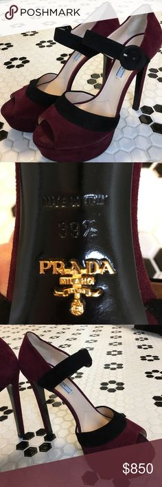 Selling this Prada Suede Peep Toe Pump - NEVER WORN on Poshmark! My username is: catedecker. #shopmycloset #poshmark #fashion #shopping #style #forsale #Prada #Shoes