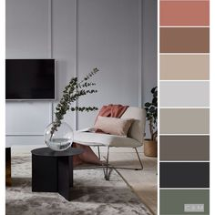 Living room designs and also ideas are anchored by its color scheme. The best use colours and also its combinations determines the success of the decoration and also designing. Color Schemes Colour Palettes, Modern Color Schemes, Modern Color Palette, Living Room Color Schemes, Room Paint Colors, Paint Colors For Living Room, Paint Colors For Home, Grey Bedroom With Pop Of Color, Colorful Interiors