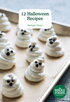 Try these 12 whimsical Halloween renditions of favorite spooks, from mummies to ghosts. They're simple enough to make with your kids, if you like. Halloween Goodies, Halloween Food For Party, Halloween Desserts, Holiday Desserts, Holiday Baking, Holiday Treats, Halloween Treats, Whimsical Halloween, Holiday Foods