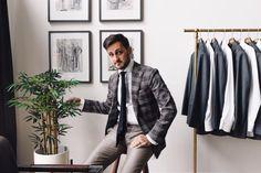 Grey monochrome, charcoal tie, plaid blazer, white shirt, light pants, casual Friday