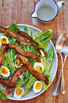 romaine w/ bacon, 5-minute eggs + creamy garlic anchovy dressing • dash and bella