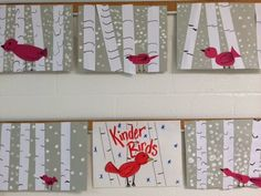 Melanie Lupien Art Class: Kinder Art Lesson. Winter Cardinals and birch trees. http://thecolorfulartpalette.blogspot.com/