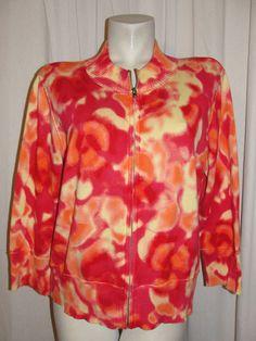 RELATIVITY Womens Sweater Orange Pink Yellow Cotton 3/4 Slv Zip Cardigan Size XL #Relativity #BasicJacket #Casual