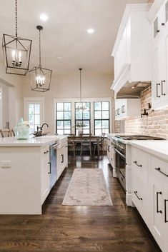 Extraordinary Kitchen Remodeling Planning and Ideas Kitchen Remodeling Trends white kitchen // exposed brick // white cabinets // industrial modern farmhouse kitchen Industrial Farmhouse Kitchen, Modern Farmhouse Kitchens, Home Kitchens, Kitchen Modern, Farmhouse Kitchen Light Fixtures, Kitchen Black, Farmhouse Style, French Kitchen, Rustic Farmhouse