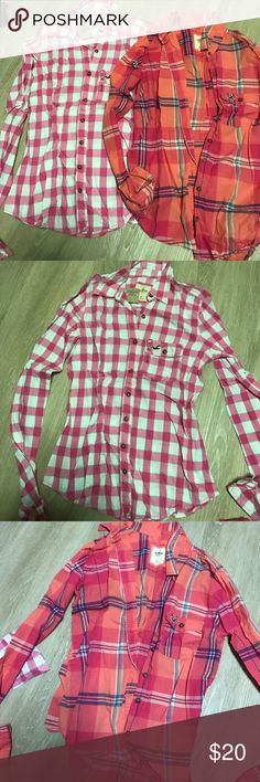 2 for 1 button down shirts Brand new- this material is not see through but super thin Hollister Tops Button Down Shirts