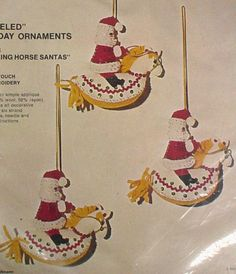 Bucilla Christmas Felt Applique Holiday Ornament Kit,ROCKING HORSE SANTA'S,Pony #BUCILLA