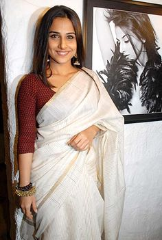White saree, maroon blouse