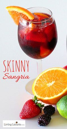 I love this drink. It's the BEST Skinny Sangria Recipe! A perfect low-calorie easy to make fruity wine cocktail party drink. LivingLocurto.com