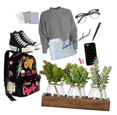 """School 2"" by nhungnguyen-vi ❤ liked on Polyvore featuring MM6 Maison Margiela, Converse, Betsey Johnson, Kate Spade, John Lewis and Charlotte Russe"