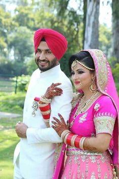 Indian Wedding Couple Photography, Indian Wedding Bride, Bride Photography, Indian Wedding Outfits, Punjabi Wedding, Couple Wedding Dress, Wedding Couple Photos, Wedding Stills, Wedding Poses