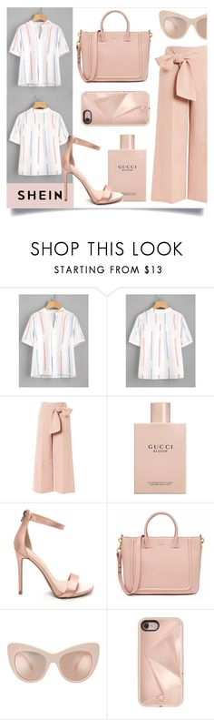 """""""pleated detail printed blouse"""" by franceee ❤ liked on Polyvore featuring Topshop, Gucci, STELLA McCARTNEY and Rebecca Minkoff"""