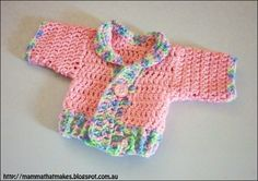 Mamma That Makes: Ribbed Prem Jacket - Free Crochet Pattern.  fit a baby of around 26 weeks gestation   ~ Link correct and pattern is FREE when I checked on 27th March 2015   USA terminology