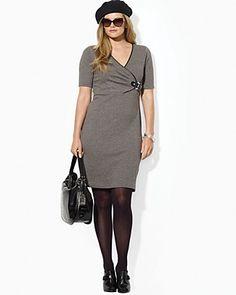 Lauren Ralph Lauren Plus Herringbone Faux Wrap Dress | Bloomingdale's