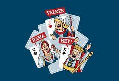 Ilustração para estampa de camiseta com a tríade do baralho: Dama, Valete, Hey! Dou preferência para o Silk Screen, que tem plena resistência.