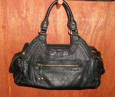 http://stores.ebay.com/The-House-Of-Two-Karat  BCBG Black Pebbled Leather Satchel Tote Handbag #BCBG #TotesShoppers