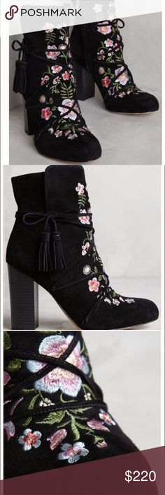 """Anthropologie Winnie embroidered suede boots NEW The coveted Winnie Suede Boots from Sam Edelman for Anthropologie. Brand new in box, never worn, exquisite boots, bought from Anthro online. Chunky 3.5"""" heel, gorgeous colorful embroidery, tasseled laces for extra oomph. These are to die for. Rich black suede with floral embroidery in hues of pinks and purples, greens and blues. Gorgeous! These don't fit me and are seriously SOLD OUT everywhere! A great boot just a shame on the size. Sam…"""
