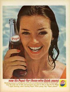 Vintage ad 1962 Pepsi Cola Soda Think Young ! Beautiful brunette - Vintage ad 1962 Pepsi Cola Soda Think Young ! Retro Advertising, Vintage Advertisements, Vintage Ads, Vintage Posters, Vintage Food, Vintage Stuff, Pepsi Advertisement, Retro Posters, Retro Ads