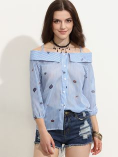 a90a2437556e2 Blue Striped Cartoon Print Cold Shoulder Fold Over Blouse Cold Shoulder