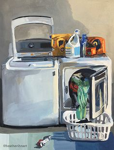 Laundry by Heather Martin Laundry Lines, Laundry Art, Gouache Painting, Watercolor Paintings, Oil Paintings, Painting Art, Blue Art, Landscape Art, Contemporary Artists