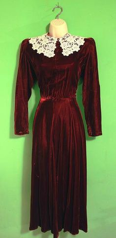 Vintage 1980s Victorian Gothic Velvet Lace Trim Dress MED.. $29.99, via Etsy.