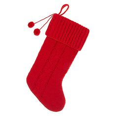 Buy John Lewis Knitted Christmas Stocking with Pom Poms, Red Online at johnlewis.com