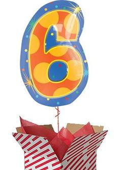 Confetti Dots Number 6 Balloon - Helium Filled