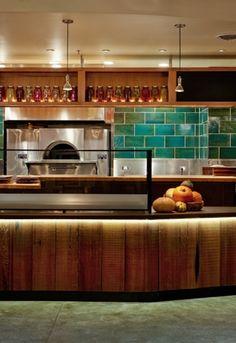 Custom Tile // Gather Restaurant Featuring A Large Backsplash Made From  Kiln Shelves.