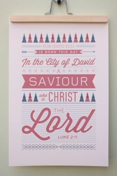 Vintage Christmas Typography Poster Print  Luke by ckdesignmission