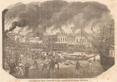 San-Francisco-Fire-Clay-St-Ca-Gleasons-c-1850s-Antique-Engraving-Print-Matted