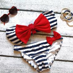 nautical sailor bikini -Yes! And if I can't fin one like this ill just get a striped one and make the bows myself!❤️