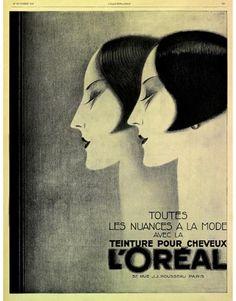 """maudelynn: """"Claude Lepape artwork for L'Oreal hair dye 1927 """" Art Deco Illustration, Vintage Advertisements, Vintage Ads, Loreal Hair Dye, Tamara Lempicka, Art Deco Posters, Moda Vintage, Art Graphique, Art Deco Design"""