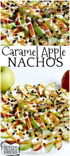 Caramel Apple Nachos are easily made by topping sliced apples with caramel, melted marshmallows, chocolate chips and sprinkles! Caramel Apple Nachos are easily made by topping sliced apples with caramel, melted marshmallows, chocolate chips and sprinkles! Baked Apple Dessert, Apple Dessert Recipes, Fruit Recipes, Desert Recipes, Fall Recipes, Cooking Recipes, Green Apple Recipes, Delicious Desserts, Gourmet