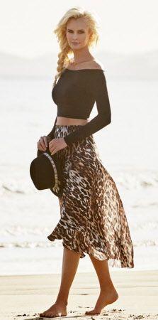 afrikaana printed mesh skirt with off shoulder top