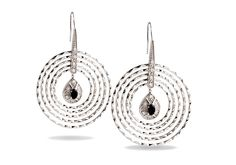 Five textured sterling silver circles frame a sparkling black cubic zirconia.