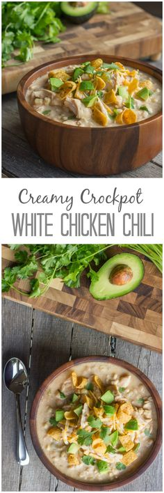 Creamy Crockpot White Chicken Chili - No Canned Soup or Seasoning Packets!