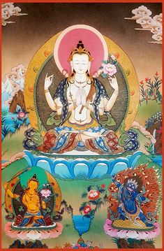 Chenrezig is the Buddha of compassion represented in this world by the Dalai Lama. In this thangka he is depicted with 4 arms together with Manjushri and Vajrapani.