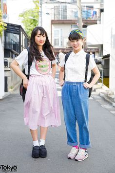 Japanese students Natsumin and Tomoo on the street in Harajuku wearing resale fashion along with items from Bubbles Harajuku, Retro Girl, and Nike.