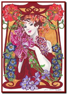 Image detail for -Comme une fleur – Art Nouveau watercolor