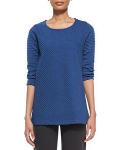 Ottoman Knit 3/4-Sleeve Tunic, Women's, Size: LARGE (12/14), Lapis Blue - Caroline Rose