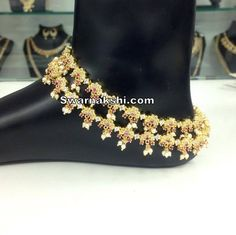 Cz / 1gram gold anklets Inbox us or whatsapp to 09581193795 to buy online  Or visit our showroom at LIG block no 11, F. No 9, 3rd Phase, KPHB, Kukatpally, Hyderabad  For more collections visit http://swarnakshi.com/…/wedding-collecti…/other-accessories/